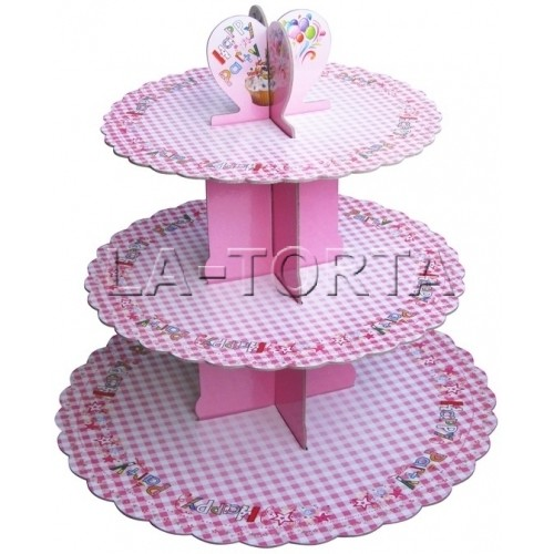 Стенд для маффинов Happy Party (розовый)
