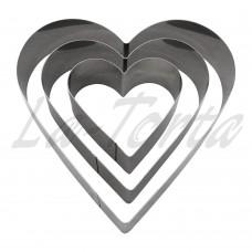 Набор универсальных металлических форм Сердце 3шт