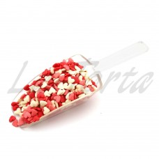 Посыпка «Украса» сердечки бело-красные матовые (100грамм)