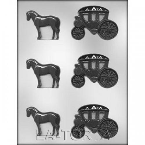 Молд для шоколада и мастики Карета с лошадью
