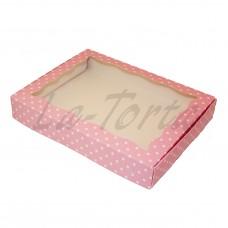 Коробка для пряников 15см*20см Розовая в горошек (5шт)