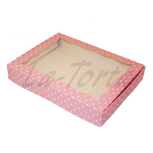 Коробка для пряников 15см*20см Розовая в горошек (5 шт)