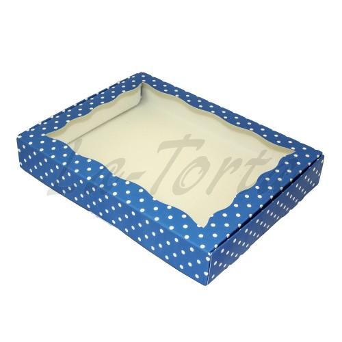 Коробка для пряников 15см*20см Синяя в горошек (5 шт)