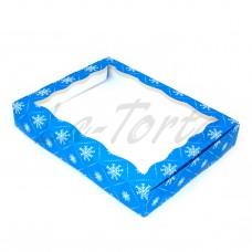 Коробка для пряников 15см*20см Синяя со снежинками (5шт)