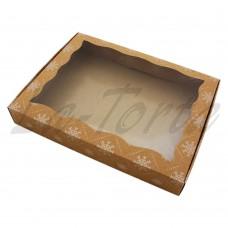 Коробка для пряников 15см*20см Крафт со снежинками (5шт)