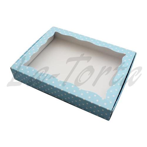 Коробка для пряников Голубая в горошек (5шт) 15см х 20см