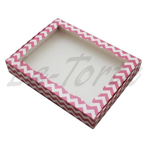 Коробка для пряников 15см*20см Розовая Зиг-Заг (5шт)