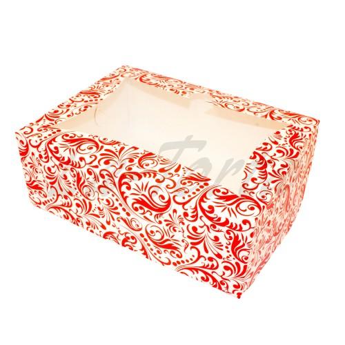 Коробка для капкейков на 6шт(красная) (5шт)