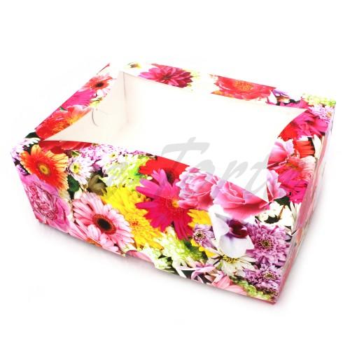 Коробка для капкейков на 6шт (цветы яркие)(5шт)