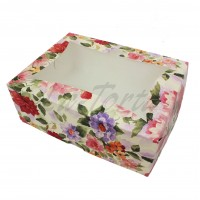 Коробка для капкейков на 6шт Цветы пастель с окном (5шт)
