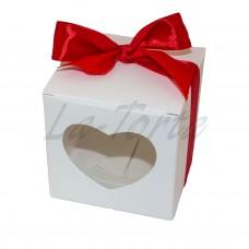 Коробка для капкейков 1шт Сердце белая (5шт)