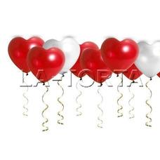 Воздушные шарики Сердца (красные и белые)
