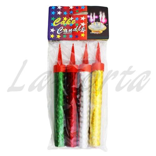 Свечи Фейерверк цветные (4шт)