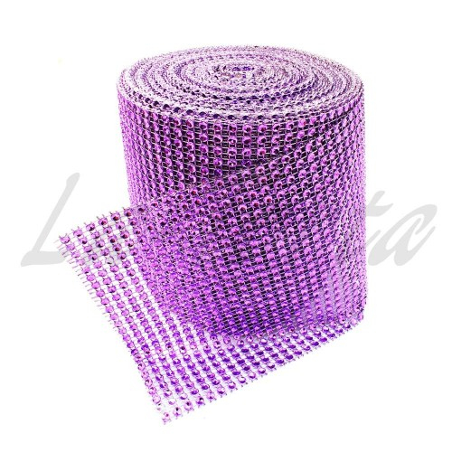 Лента со стразами фиолетовая