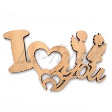 Деревянный топпер на торт I love You!