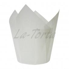 Бумажная форма для кексов Тюльпан - Белые (150 шт)