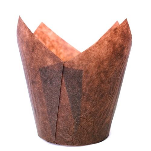Бумажные формочки Тюльпан - Коричневые (150шт)