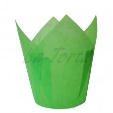 Бумажная форма для кексов Тюльпан - Зеленые (150 шт)