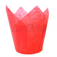 Бумажная форма для кексов Тюльпан - Красные (150 шт)