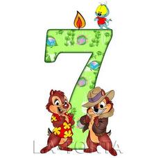 Вафельная картинка Детские цифры 7 Чип и Дейл 7х14
