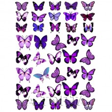 Бабочки сиренево-фиолетовые 20х29