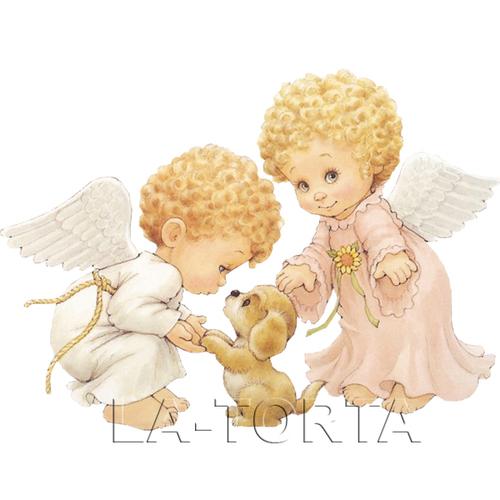 Вафельная картинка Ангелочки с собачкой 14х20
