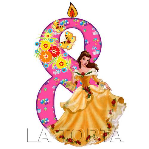 Вафельная картинка Цифра 8 Принцесса 7х14