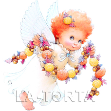 Вафельная картинка Ангелочек с гирляндой (20см*20см)