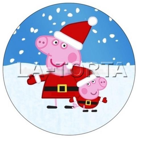 Вафельная картинка Свинка Пеппа новогодняя 14х14