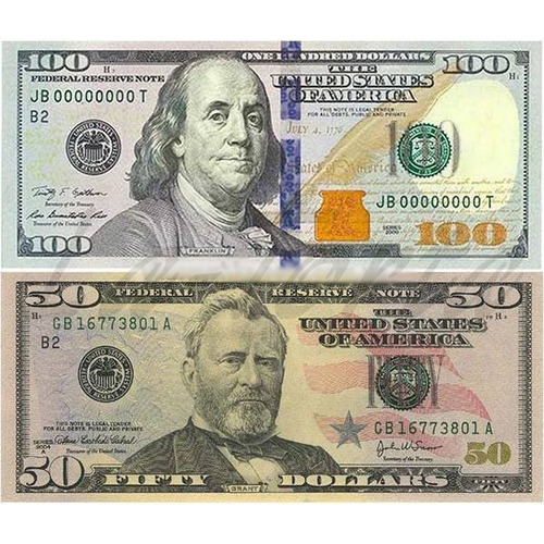 Вафельные 100 и 50 долларов 4,5х10