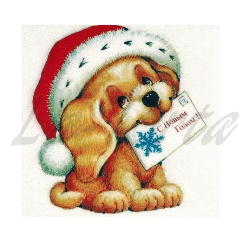 Вафельная картинка Новогодняя Собачка